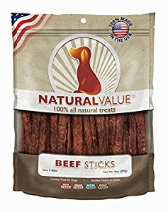Natural Value Beef Sticks are proud to be 100% farmed and made in the USA. Natural Value Beef Sticks are proof that healthy, safe U.S. made dog treats can be affordable. Cooked on open grilling racks to reduce fat and give them a delicious flavor, ou...