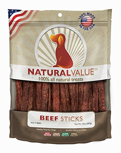 Beef Sticks Dog Treats - Loving Pets Natural Value All Natural Soft Chew Beef Sticks for Dogs, 14-Ounce