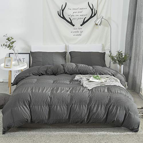 DuShow 3 Pieces Solid Duvet Cover Set Queen Dark Gray Seersucker Textured Comforter Cover Set with Zipper Closure Hotel Collection Ultra Soft Nature Reversible Duvet Cover Set