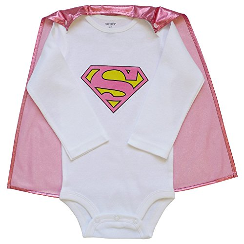 So Sydney Superhero Onesie Romper with Detachable Cape Baby, Toddler, Boy, Girl (S (3-6 Months), Supergirl)