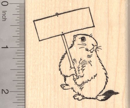 Groundhog Day Rubber Stamp, Groundhog with Blank -