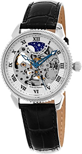 Stuhrling Original Men's 835.01 Special Reserve Automatic Skeleton Stainless Steel Watch With Black Leather Band (Reserve Skeleton)