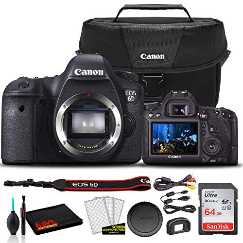 Canon EOS 6D DSLR Camera (Body Only) (8035B002) + Canon EOS Bag + Sandisk Ultra 64GB Card + Cleaning Set and More…