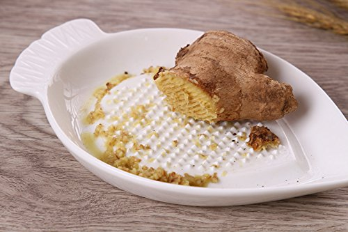 Plato de jengibre rallador de cerámica - para ajos, zanahoria y cebolla, de 7 pulgadas, color blanco: Amazon.es: Hogar