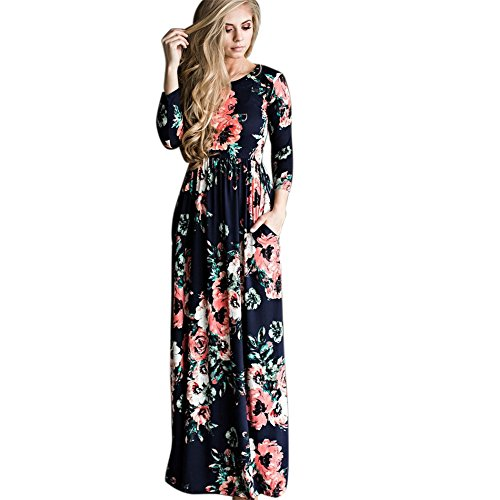 ETOSELL Women Long Print Dress Long Dress Floral Printed Length Party Evening Formal Dress