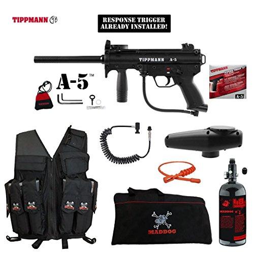 (MAddog Tippmann A5 A-5 w/Response Trigger Lieutenant HPA Attack Vest Paintball Gun Package - Black)
