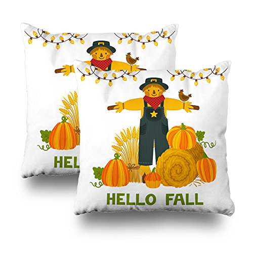 ONELZ AutumnPumpkins Hay Bale Wheat Sheaf Scarecrow Quot Hello Square Decorative Throw Pillowcase Two Sides Printed, Fashion Style Zippered Cushion Pillow Cover(18 x 18 inch,Set of 2)]()