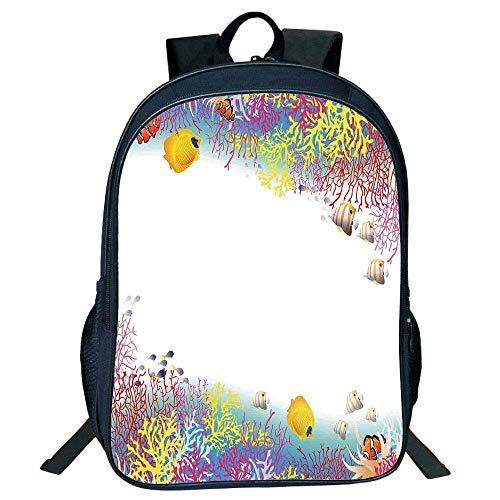 DKFDS Backpacks Unisex School Students Black Farm House Decor,Aquatic l Illustration Deep Underwater World Life Animals Corals,Multi Kids,