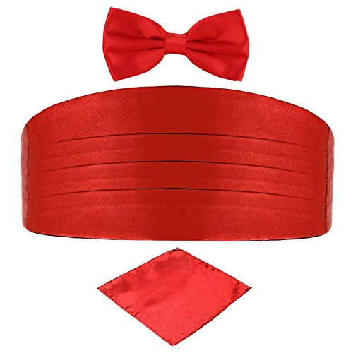 Set Cummerbund Red (Men's Satin Belt Cummerbund Bow Tie Pocket Square Handkerchief Hanky Set Tuxedo Party (Red))