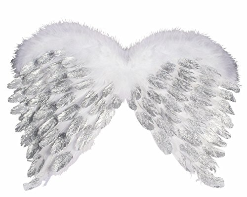 Forum Novelties Women's Deluxe Feather Angel Wings with Glitter, White