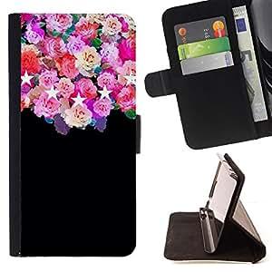 /Skull Market/ - roses black stars pink floral flowers For Samsung Galaxy S4 Mini i9190 - Caja de la carpeta del tir??n del cuero de la PU [con ranuras para tarjetas y cierre de solapa magn? -