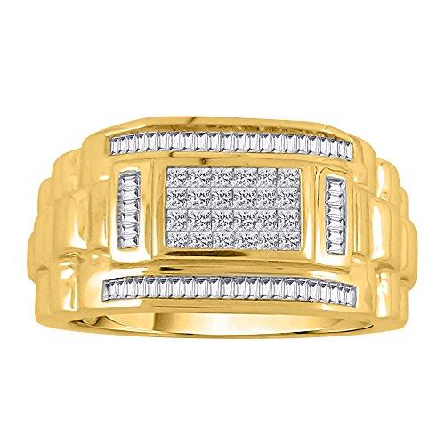 KATARINA Baguette and Princess Cut Diamond Men's Ring in 10K Yellow Gold (3/4 cttw, G-H, VS2-SI1) (Size-13)