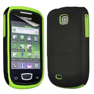 ONX3 Samsung Galaxy Mini S5570 COMBO funda de piel híbrido / Silicona Verde + LCD Protector de pantalla