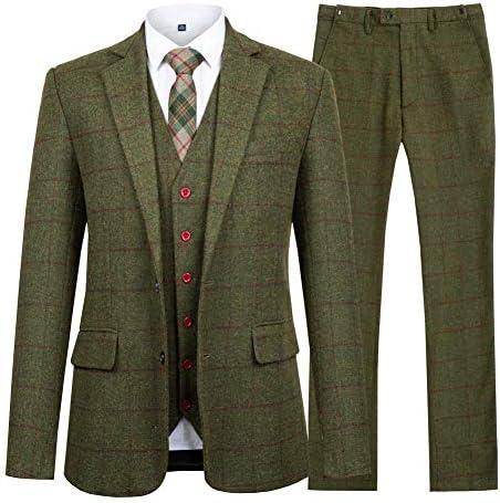 スーツ メンズ スリーピース 上下セット セットアップ ビジネススーツ 礼服 卒業式 就職スーツ 二次会 チェック柄 2ポケット 無地 スリム 着心地良い 3点セット(ジャケット・ベスト・スラックス)
