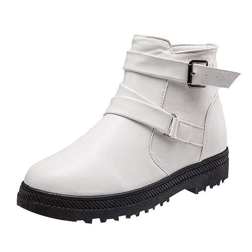 bbcba7fda847f3 Kaiki Boots Femme,Mode féminine Solide Hiver Chaud Bottes Courtes de Neige  Plates Chaussures à