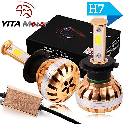 YITAMOTOR 2pcs H7 COB LED Headlight Conversion Kit High Low Single Beam 100W 10,000LM 6000K HID White