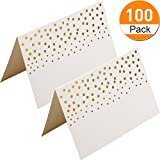 Boao 100 pack Place Cards Table Tent Name Place Cards with Gold Foil Dots for Wedding Party Dinner Buffet, 3.75 by 2.5 inches