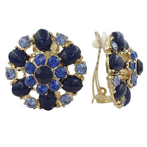 Rhinestone & Gem Flower Clip on Formal Fancy Earrings (Blue Gold Tone)