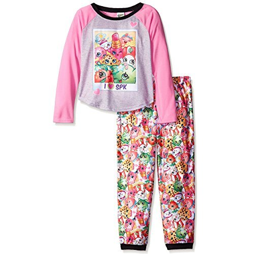 (Shopkins Girls Top with Flannel Pants Pajamas (10, SPK Pink))
