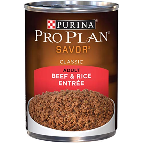 Purina Pro Plan Pate Wet Dog Food; SAVOR Beef & Rice Entree - 13 oz. Can (Pack of 12)