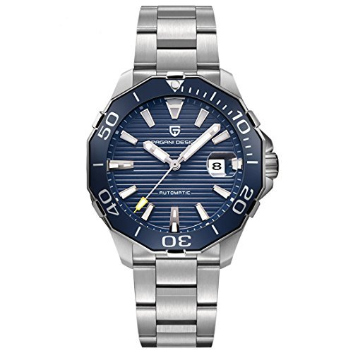 Pagani Design Reloj de pulsera para hombre, automático, luminoso, calendario, color azul: Amazon.es: Relojes
