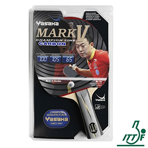 Fantastic Deal! Yasaka MARK V Carbon Racket, Flared Handle (Champion Line) for Table Tennis