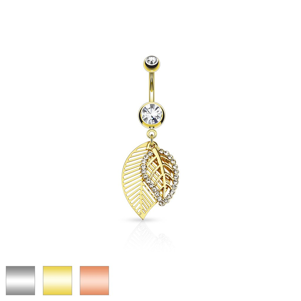 Dynamique 14G CZ Paved Leaves Dangle 316L Surgical Steel Jeweled Belly Button Navel Ring