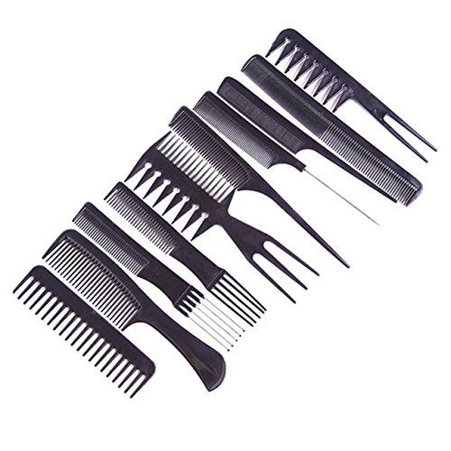 1 Sets (10Pcs/Set) Comb Hairbrush Professional Hair Brush Salon Barber Anti-Static Combs Hairdressing Care Tools Combo Pocket Long Round Handle Holder Pleasure Popular Beard Natural Women Travel Kit