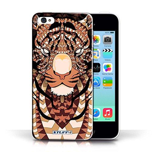 Etui / Coque pour Apple iPhone 5C / Tigre-Orange conception / Collection de Motif Animaux Aztec