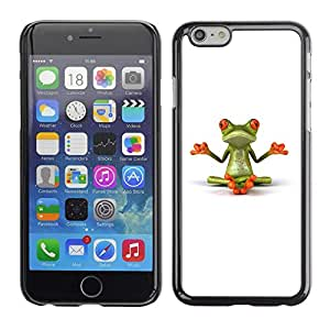 Soft Silicone Rubber Case Hard Cover Protective Accessory Compatible with Apple iPhone? 6 (4.7 Inch) - yogi yoga meditating frog minimalist