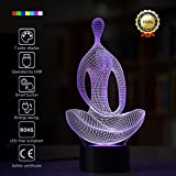 Meditation 3D Night Light Yoga 3D Led Optical Illusion 7 Colors Change Night Light Touch Button Creative Design Decorative Lighting Effect Lamp (Meditation)