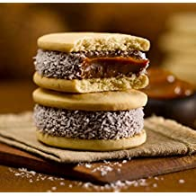 Cachafaz Alfajor Maizena - Cornstarch Sandwich Cookie filled with dulce de leche decorated with shredded coconut. 6 Units: 76 G