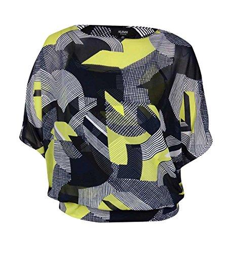 Alfani Womens Plus Chiffon Printed Pullover Top Multi 1X ()