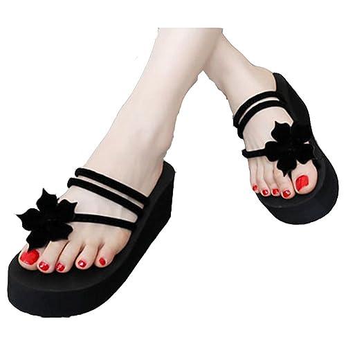 37ae98e5f71 T-JULY Women s Flower Wedge Flip Flops Thick Bottom Platform Sandals  Non-Skid Slippers