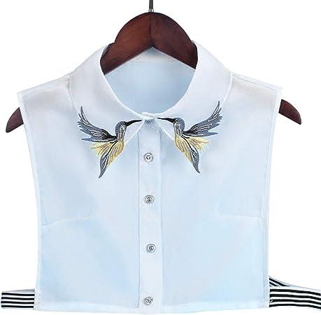 VIccoo Camisa de Mujer Collar Falso Corbata Moda Pesado Pájaro Bordado Costura de Cristal Cuello Desmontable Cuello Falso Blusa de Solapa Top Ropa de Mujer Accesorios: Amazon.es: Hogar