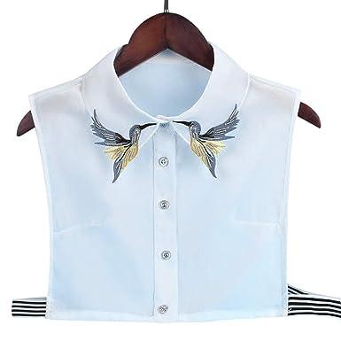 Fewxdsad Camisa de Mujer Falso Cuello Corbata Moda Pesado Pájaro ...