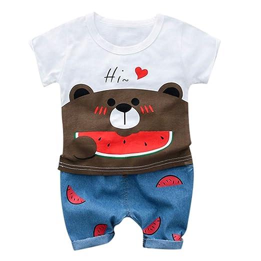17b0cb028 HANANei Toddler Kid Baby Boys Girls Bear T-Shirt Tee Tops Shorts Trousers  Outfits Set