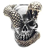 Snake Skull Paracord / Lanyard Bead in .925 Sterling Silver & Bronze by GD Skulls
