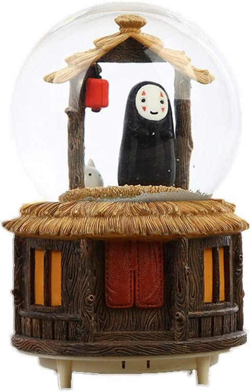Snow Globes Music Box Crafts, Spirited Away Figures Sculptured Snowglobes Ghibli No Face Man Music Box Glitter Dome for Christmas Valentine's Day Birthday Gift 100mm (B)