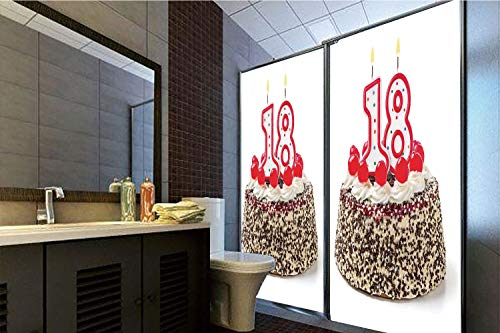 Horrisophie dodo 3D Privacy Window Film No Glue,18th Birthday Decoration,Sweet Eighteen Party Cake with Candles and Cherries Sprinkle Photo,Multicolor,70.86
