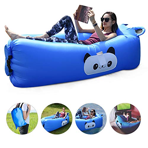 FOCHEA Inflatable Air Lounger, Portable Air Sofa with Pocket, Anti-Air Leaking & Waterproof Design, Air Chair for Camping/Travelling/Hiking/Beach