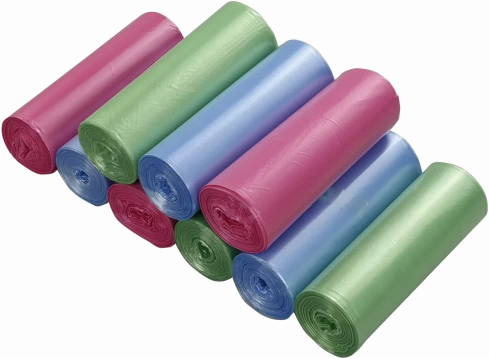 Ordate 5 L Bolsas Basura Sacos de Basura Bolsa de la Basura Pequeñas, Color Verde Azul Rosado, 180 Cuentas/9 Rollos