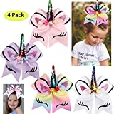 4Pack 7 Inch Boutique Bow Hair Ties Glitter Unicorn Cheer Bows Ponytail Holders Hair Bows with Elastic Bands for Kids Children Cheerleading Girls