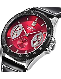 Bestn Wristwatches Mens' Calendar Auto Mechanical PU Leather Watch (red)