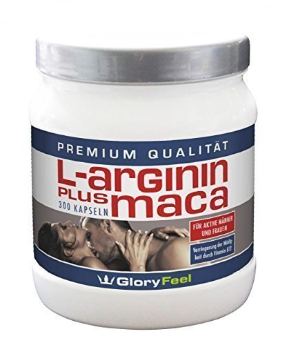 Maca Pulver plus Arginin - 300 hochdosierte Maca Kapseln plus Arginin 2-3 Monatsvorrat - Made in Germany