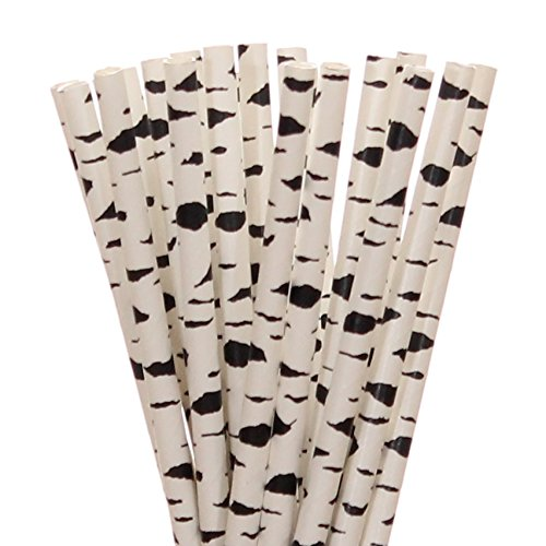 [Black and White Birch Tree Paper Straws (100)] (Log Costume)