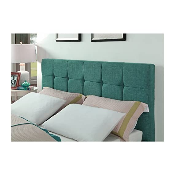 """AC Pacific Modern Platform Bedframe With Wooden Slats, Queen Size, With Square Stitching Tufted Finish, Turquoise - Perfect Dimensions: This Platform Bed Frame Has Been Made With Impeccable Dimensions of 66.1"""" x 89"""" x 40.9"""" and a Total Weight of 78 lbs., to Provide You With a Bedframe and Wooden Slats That Will Be Easy to Place and Use in Your Home While Providing You With a Queen Size Frame Designed For Optimum Comfort and Accommodating Placement in Your Home Genuine Construction: Crafted With Durable Hardwood and Fourteen Wooden Slats, This Tufted Upholstered Bedframe Has Been Created With Quality to Provide You With Something Durable and Certain to Be Long Lasting For Many Years to Come One of a Kind Appeal: This Upholstered Bed Frame Has a Stitched Fabric Headboard and Footboard to Provide You With Something Comfortable and Fashionable. The Wooden Slats Provide a Great Source of Sturdy and Durable Placement For Your Mattress - bedroom-furniture, bedroom, bed-frames - 51RTNw7LyyL. SS570  -"""