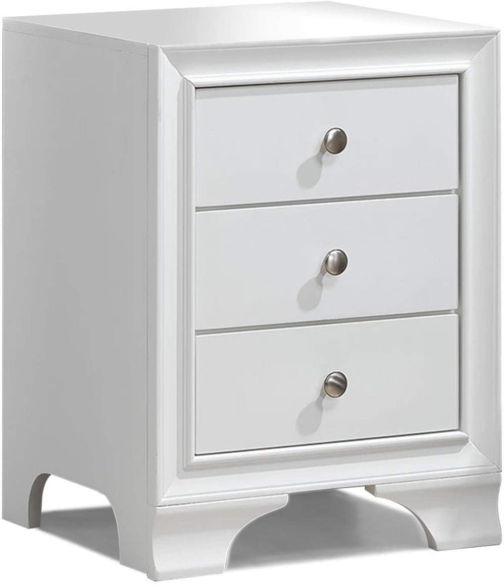 WATERJOY Side End Accent Table Nightstand, 3-Drawer Storage Home Bedroom Furniture with USB Charging Port White