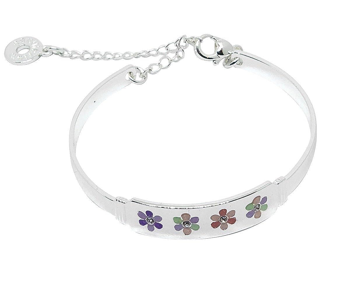 Mirabella BellaMira Girls Flower Princess Rhinestone Bangle Bracelet Fine Jewellery Gift Boxed