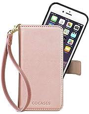 COCASES Wallet Case Compatible iPhone X/10,8 Plus/7 Plus/6 Plus/6s Plus,8/7/6/6s,SE/5/5s, PU Leather Flip Folio Cover Removable Magnetic Card Slot Wrist Strap